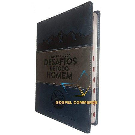 Bíblia De Estudo Desafios De Todo Homem - Azul Com Cinza - Mundo Cristão