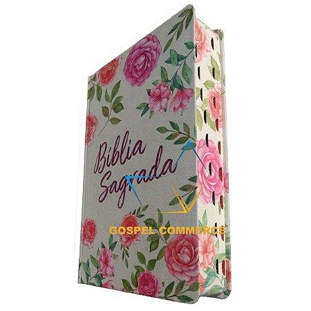 Bíblia Sagrada Média Letra Grande NVT Textura Floral Com Índice - Mundo Cristão