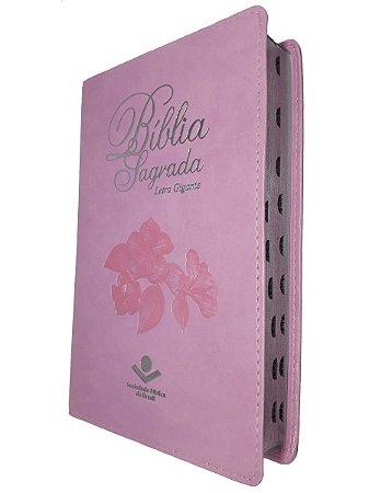 Bíblia Sagrada Letra Gigante-Rosa Luxo Alto Relevo Ra-Sbb