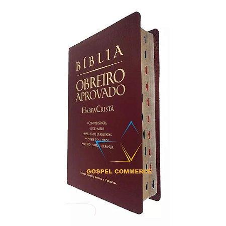 Bíblia De Estudo Obreiro Aprovado Média Vinho Com Índice e Harpa Cristã - Cpad