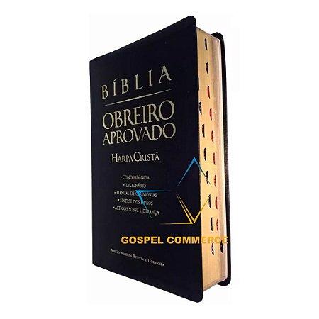 Bíblia Obreiro Aprovado Luxo Preta Com Índice e Harpa Cristã-  Cpad
