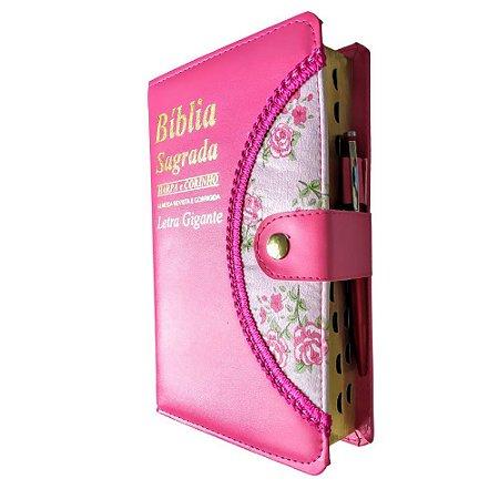 Bíblia Sagrada Letra Gigante - Pink - Botão e Caneta