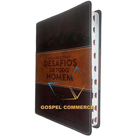 Bíblia De Estudo Grande Desafios De Todo Homem - NVT Marrom - Mundo Cristão