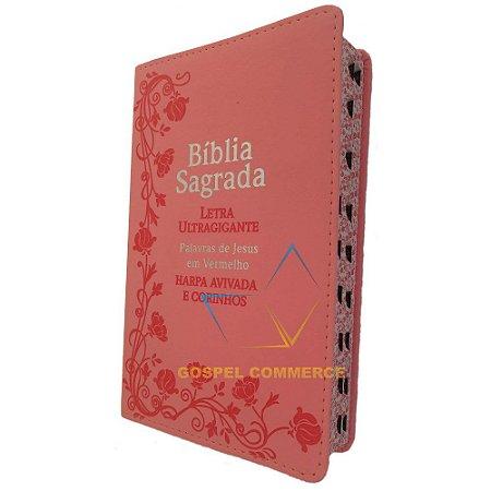 Bíblia Sagrada Média Letra Ultra Gigante Rosa Palavras de Jesus Em Vermelho - Cpp