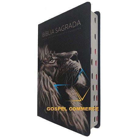 Bíblia Sagrada Média Letra Grande NVT Leão Com Índice - Mundo Cristão