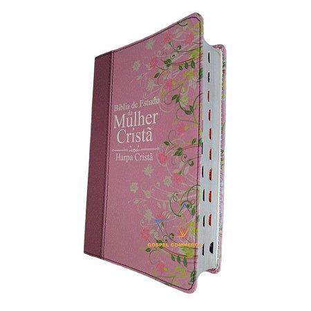 Bíblia De Estudo Da Mulher Cristã - Média Rosa Com Harpa e Índice - Cpad