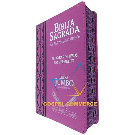 Bíblia Sagrada Luxo Letra Jumbo Pink Com Harpa e Corinhos - Cpp