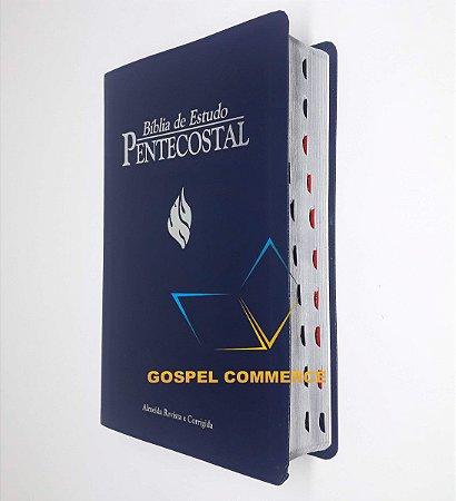 Bíblia De Estudo Pentecostal Média Azul Com Índice - Cpad