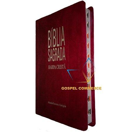 Bíblia Sagrada Slim Com Harpa Cristã Bordô Cpad Rc