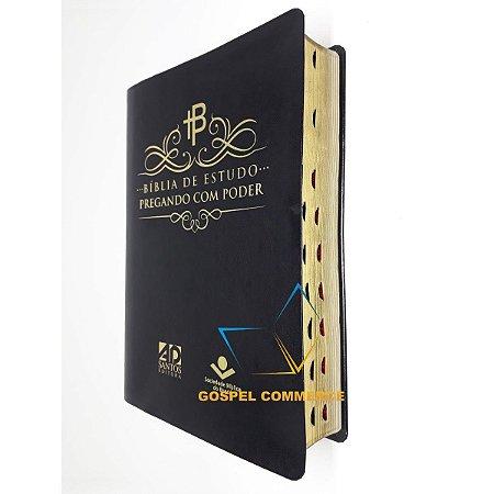 Bíblia De Estudo Pregando Com Poder - Luxo Preta - AD Santos