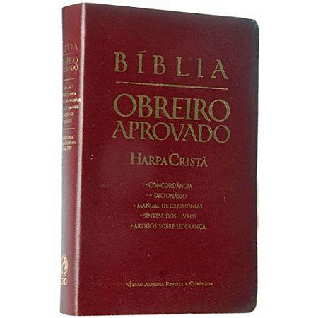 Bíblia Obreiro Aprovado Harpa Cristã Sem Índice - Luxo Vinho - Cpad