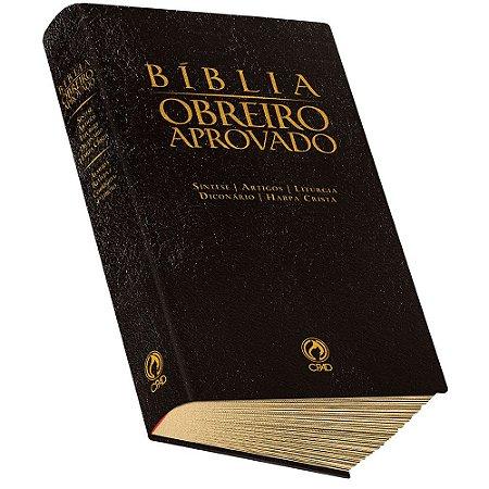 Bíblia Obreiro Aprovado Harpa Cristã Luxo Preta
