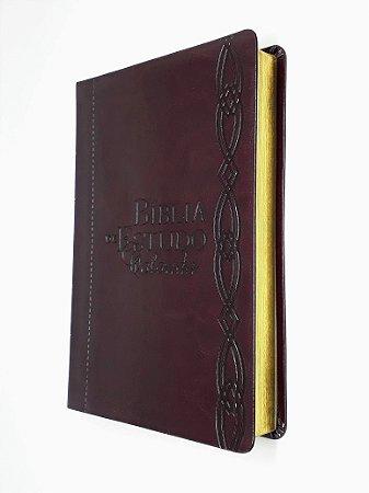 Bíblia De Estudo Colorida Luxo Vinho - Letra Grande- Bv Books