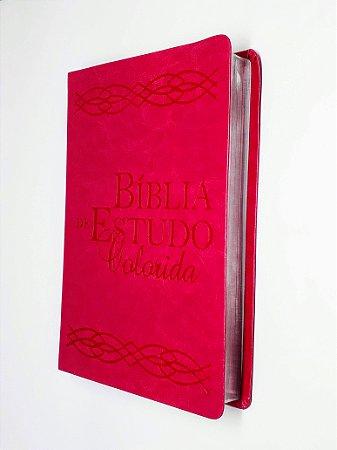 Bíblia De Estudo Colorida Luxo Rosa - Letra Grande- Bv Books