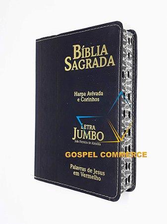 Bíblia Sagrada Letra Jumbo Preta Com Harpa Cristã