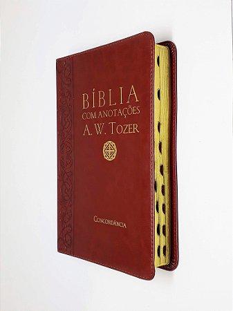 Bíblia Com Anotações A. W. Tozer Media Vinho Índice - Cpad
