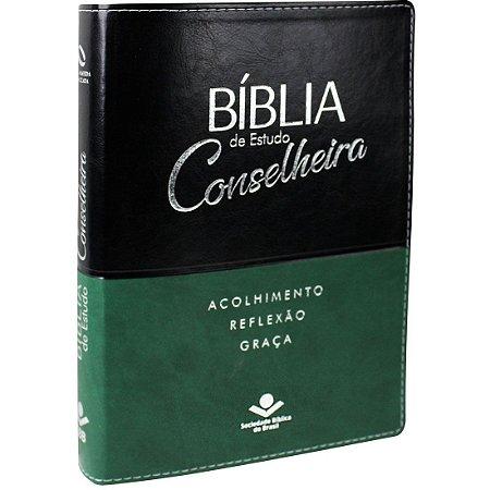 Bíblia de estudo Conselheira - NAA- Luxo Verde e Preta