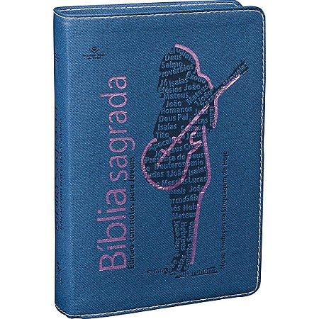 Bíblia Sagrada Edição com Notas para Jovens  Azul com rosa
