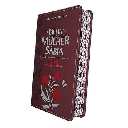 A Bíblia De Estudo Da Mulher Sábia Letra Grande Tulipa Bordô Harpa