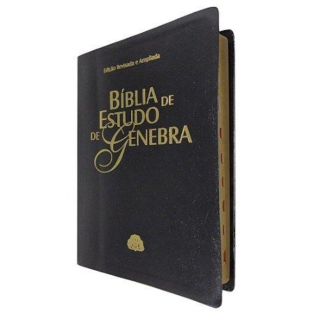 Bíblia De Estudo De Genebra Grande Luxo Preta Sbb Ra