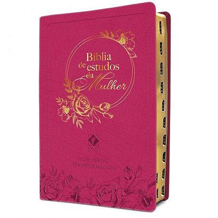 Bíblia De Estudos Da Mulher - Capa Em Couro Rosa - NVT