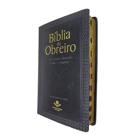 Bíblia do Obreiro Com Índice Palavras de Jesus Vermelho - Luxo Preta - Sbb