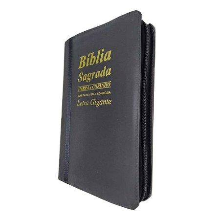 Bíblia Sagrada Letra Gigante Bicolor Preta Zíper - KC