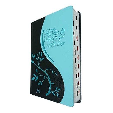 Nova Bíblia de Estudo da Mulher - Preta com Azul - Eunice