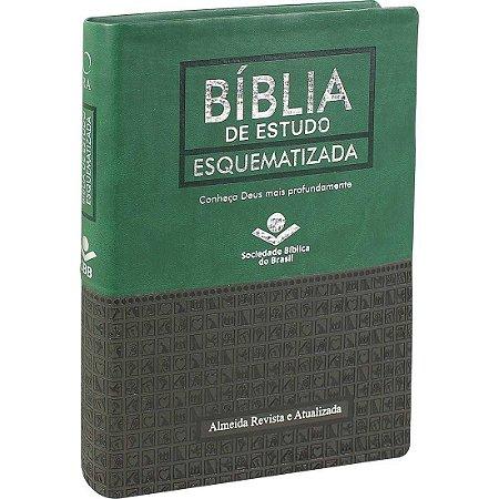Bíblia de Estudo Esquematizada Verde Com Cinza Escuro - Sbb