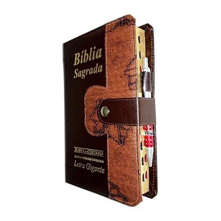 Bíblia Sagrada Letra Gigante - Marrom Folhas Botão e Caneta
