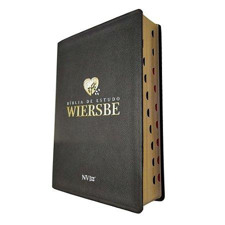 Bíblia de Estudo Wiersbe NVI - Capa Luxo Preta - Geográfica