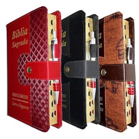 Kit 3 Bíblia Sagrada Letra Gigante Preta + Marrom + Vinho
