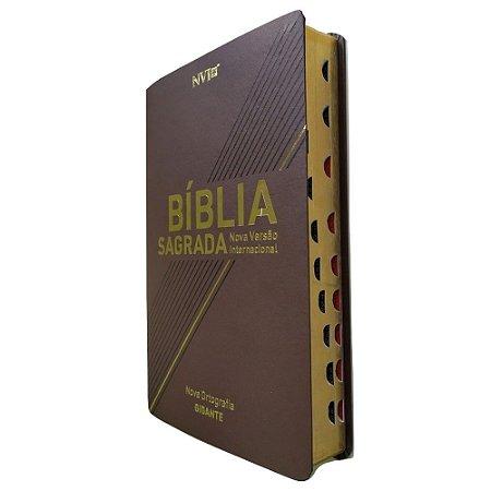 Bíblia Sagrada NVI Letra Gigante Capa Luxo Marrom Geográfica