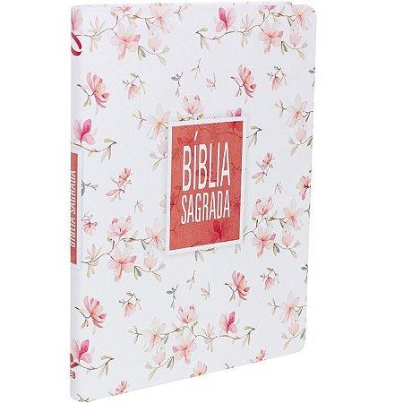 Bíblia Sagrada NAA Slim Floral Branca  SBB