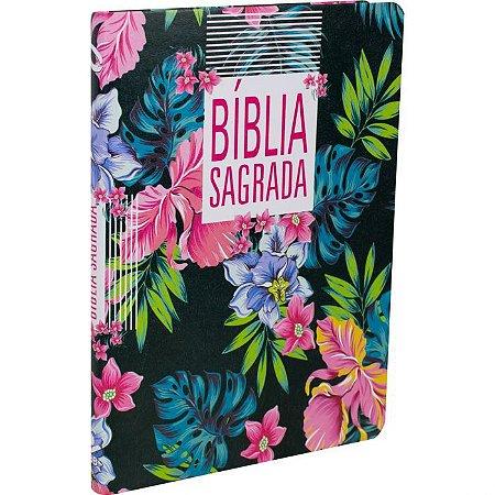 Bíblia Sagrada NAA Slim Floral Preta SBB