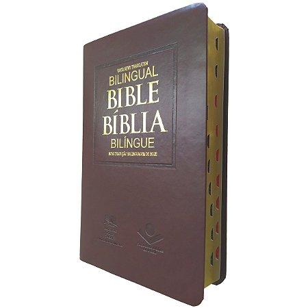 Bíblia Bilíngue Português – Inglês - Luxo Marrom - Sbb
