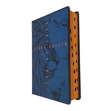 Bíblia Sagrada Leão de Judá NVT Letra Grande - Azul - MC