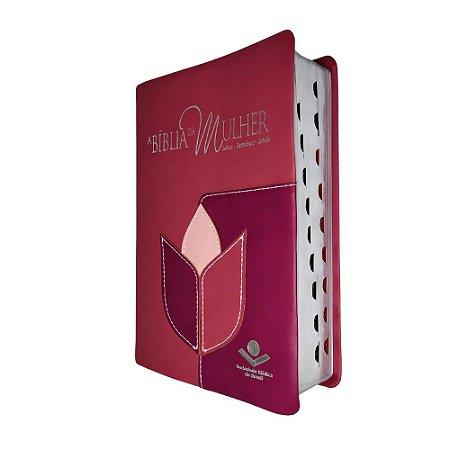 A Bíblia da Mulher Média Com Estudo e Devocional - Pink  SBB