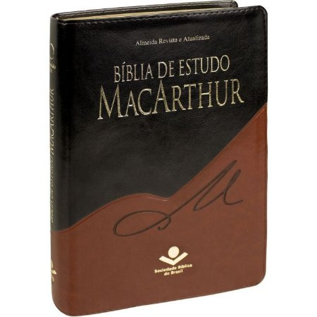 Bíblia De Estudo Macarthur Sem Índice - Preta Com Marrom - Sbb