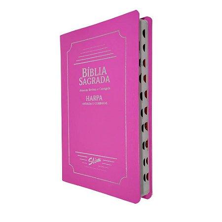 Bíblia Sagrada Slim Capa Coverbook Rosa Com Harpa - CPP