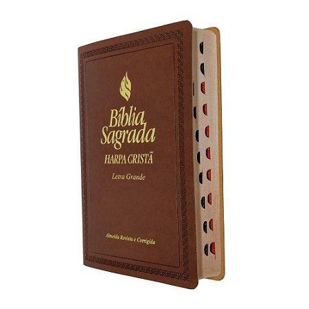 Bíblia Sagrada Letra Grande com Harpa Cristã - Marrom - SBB