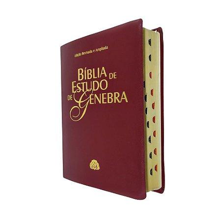 Bíblia De Estudo Genebra RA - Grande - Luxo Vinho - Sbb