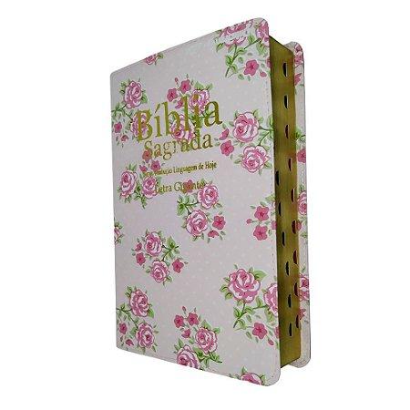 Bíblia Sagrada Letra Gigante NTLH Rosa Florida - Sbb