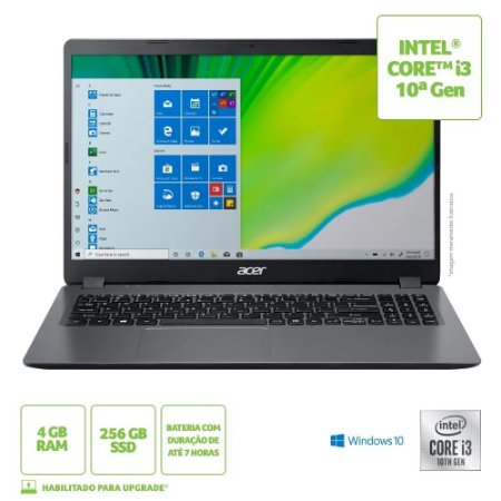 "NOTEBOOK ACER ASPIRE A315-54K-30U INTEL CORE I3-1005G1 4GB 256GB SSD 15.6"" WINDOWS 10 HOME CINZA"