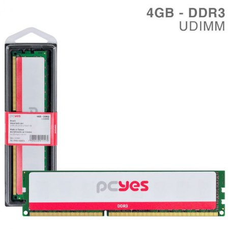 MEMORIA P/ DESKTOP PCYES 4GB DDR3 1.35V-1.5V PM041600D3 1600MHZ