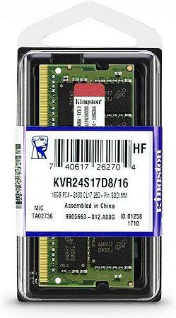 MEMORIA P/ NOTEBOOK KINGSTON 16GB DDR4 1.2V KVR24S17D8/16 2400MHZ