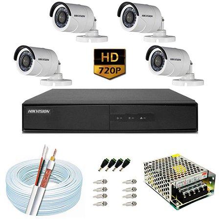 KIT CFTV HIKVISION 4 CANAIS BULLET E DOME 720P DVR HIKVISION HD 1TB E ACESSORIOS