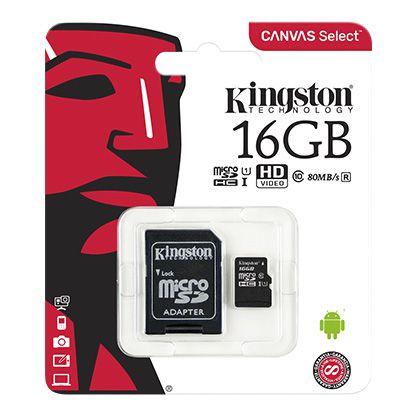 CARTAO DE MEMORIA KINGSTON CLASSE 10 16GB PRETO (SDCS/16GB)