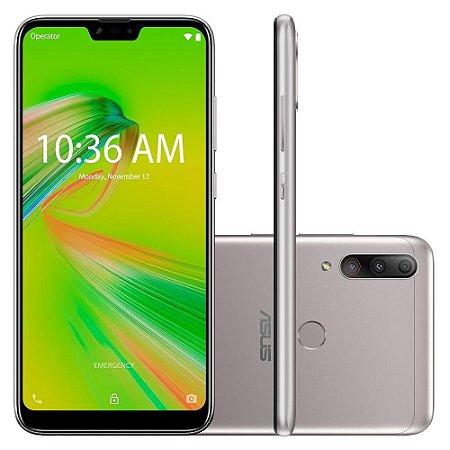 """SMARTPHONE ASUS ZENFONE MAX SHOT 64GB CAM TRASEIRA 12MP+8MP+5MP 6.2"""" ANDROID PRATA"""