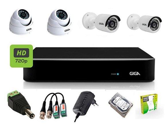 KIT CFTV GIGA 4 CANAIS BULLET&DOME 720P DVR GIGA HD SEAGATE 1TB ACESSORIOS